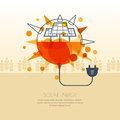 Vector illustration of sun with solar battery and wire plug. Royalty Free Stock Photo