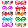 Vector illustration sunglasses icons ten multicolor set Stock Images