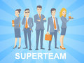 Vector illustration of a super business team of young business p people standing together on blue background with comic strips Stock Image