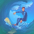 Vector illustration of a surfer