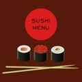 Vector illustration of sushi bar menu template