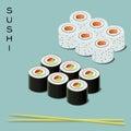 Vector illustration of sushi set