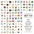 Vector illustration of sushi ,surfing, supermarket ,superhero,mask summar rest stone age icon set.