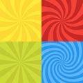 Vector illustration for swirl design. Swirling radial pattern background set. Vortex starburst spiral twirl square. Helix rotation Royalty Free Stock Photo