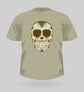 Vector illustration of t-shirt with Sugar Skull Royalty Free Stock Photos