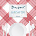 Vector illustration of table setting with red and white tablecloth Royalty Free Stock Photo