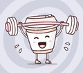 Vector illustration of takeaway coffee cup with barbell lifting