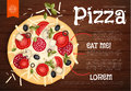 Vector illustration. Tasty Pizza on Wood Texture. Fast Food Background. Royalty Free Stock Photo