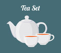 Vector illustration of teapot and cups, seamless pattern