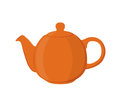 Vector illustration of teapot. Pottery fictile, clay teakettle. Flat style