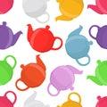 Vector illustration of teapots, seamless pattern. Pottery, clay teakettle