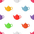 Vector illustration of teapots, seamless pattern. Pottery fictile, clay teakettle
