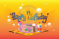 Vector illustration. Template birthday greetings. Cake, ice cream and a candle. Royalty Free Stock Photo