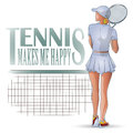 Vector Illustration. Template flyers. Beutiful girl playing tennis