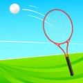 Vector illustration tennis racket throwing ball Stock Image