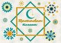 Vector illustration of text, inscription Ramadan Kareem banner, postcard with Islamic geometric patterns, moon, frame.