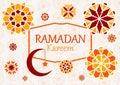 Vector illustration of text, inscription Ramadan Kareem banner,