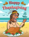 Vector illustration for thanksgiving day. Happy native american with baked turkey against the ocean. Royalty Free Stock Photo