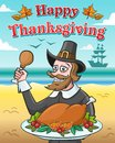 Vector illustration for thanksgiving day. Happy pilgrim with baked turkey against the ocean.