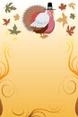 Vector illustration of a thanksgiving turkey pilgrim background with harvest vegetables Stock Image