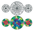 Vector illustration thee round stained glasses floral decor Royalty Free Stock Photos