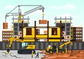 Vector illustration on the theme of a construction site. Construction of the building on background of the city Royalty Free Stock Photo
