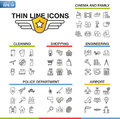 Vector illustration of thin line icons for cinema, family, cleaning, shopping, engineering, police department, airport Royalty Free Stock Photo