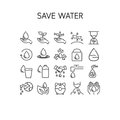 Vector illustration of thin line icons for Save Water.