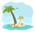 Vector illustration of tropical island with signboard palm and crab Royalty Free Stock Images