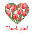 Vector illustration of tulips flowers in heart shape. Royalty Free Stock Photo