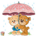 Vector illustration of two brown teddy bear boy and girl hiding from the rain under the umbrella