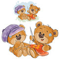 Vector illustration of two brown teddy bears embroider, needlework