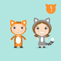 Vector illustration of two happy cute kids characters. Royalty Free Stock Photo