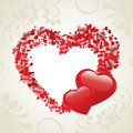 Vector illustration of two heart shapes Royalty Free Stock Photos