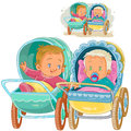 Vector illustration of two small baby lie in baby carriages and try to communicate