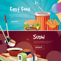 Vector illustration of two web banners with fast food pictures Royalty Free Stock Photo