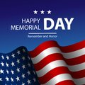 Vector illustration of United States of America realistic flag and Text Memorial Day