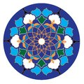 Uzbek traditional ornament in wight, blue, green and yellow colors