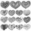 Vector illustration Valentine`s Day set of zenart hearts contour black on white background
