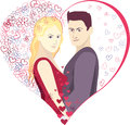 Vector illustration valentines heart romance happiness woman and man Royalty Free Stock Image