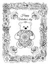 Vector illustration, valentines, a teddy bear with a heart in a frame from flowers. The work Made in manually.Book Coloring anti-s