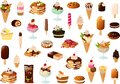 Vector illustration of various cakes, waffles, pancakes and ice creams