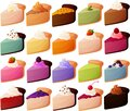 Vector illustration of various cheesecakes and pies