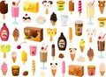 Vector illustration of various kinds of colorful ice creams and dairy food products and ice pops