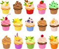 DrVector illustration of various kinds of cup cakes with colorful toppings and frosting