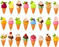 Vector illustration of various kinds of cute colorful ice creams in sugarcones and toppings