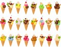 Vector illustration of various kinds of ice creams in sugar cones and colorful garnish