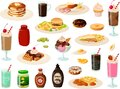 Vector illustration of various kinds of typical American diner foods such as burgers, pancakes and waffles