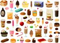 Vector illustration of various sweet desserts cakes and ice creams