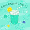 Vector illustration of vegetable smoothie in a glass with a straw and images of ingredients. Printable card or poster. Citrus, bro